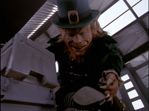 Leprechaun checks his shoe